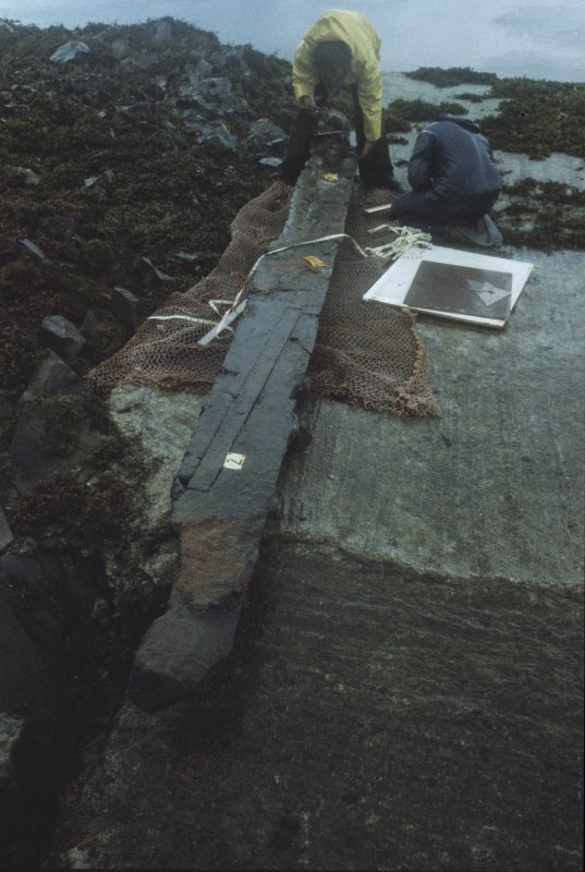 The recovered section of the keel on the slip at Craignure, showing the transverse capping of a scarph joint.