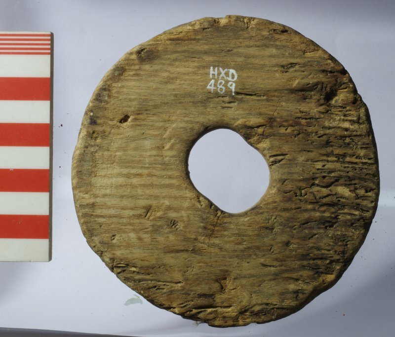 Softwood sheave (pulley-wheel), cut tangentially (HXD 489). The central hole has been worn to an elongated shape.