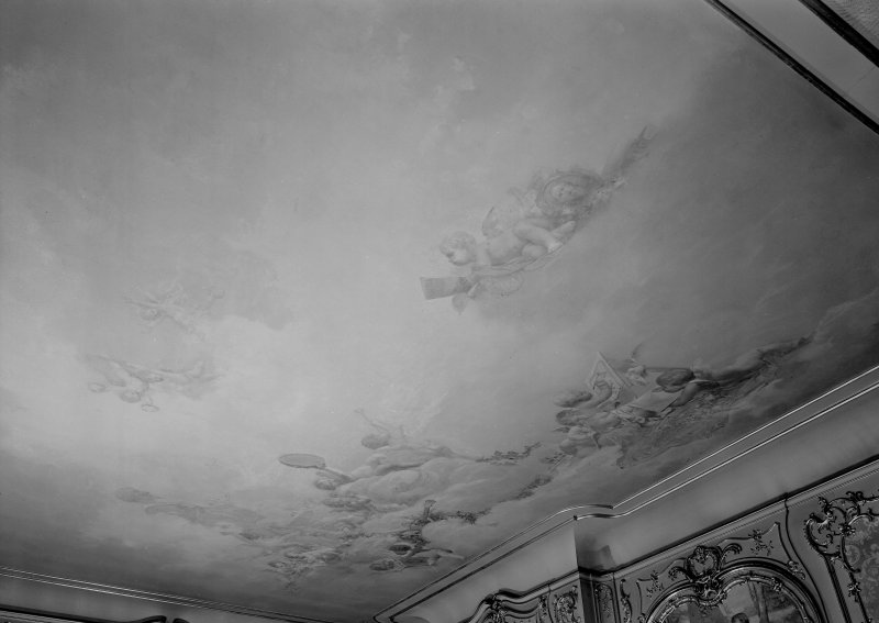 Interior. W wing, principal floor, drawing room, detail of ceiling.