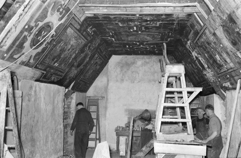 Aberdeen, Broad Street, Provost Skene's House, Interior. General view of interior featuring men at work.
