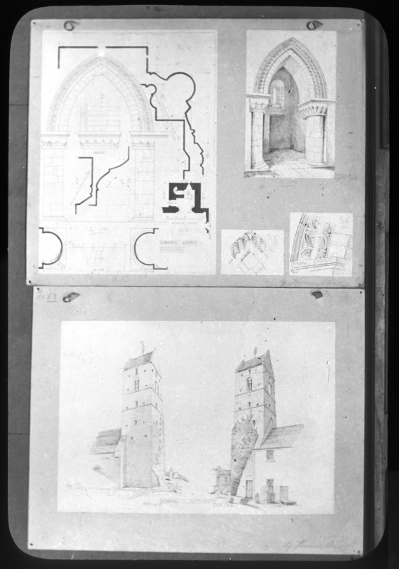 Photographic copy of drawings showing church tower from North and South, details of stonework and arch.