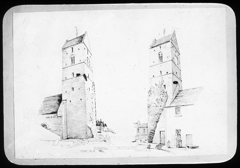 Photographic copy of drawings showing church tower from North and South.