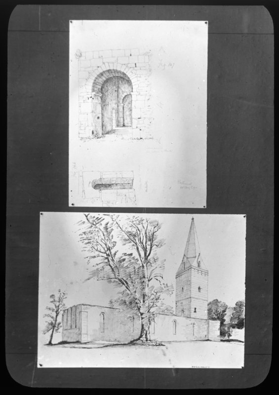 Photographic copy of drawings showing general view of church and detail of entrance.