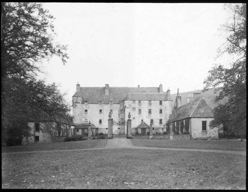 Lantern slide showing principal front as seen along the avenue.