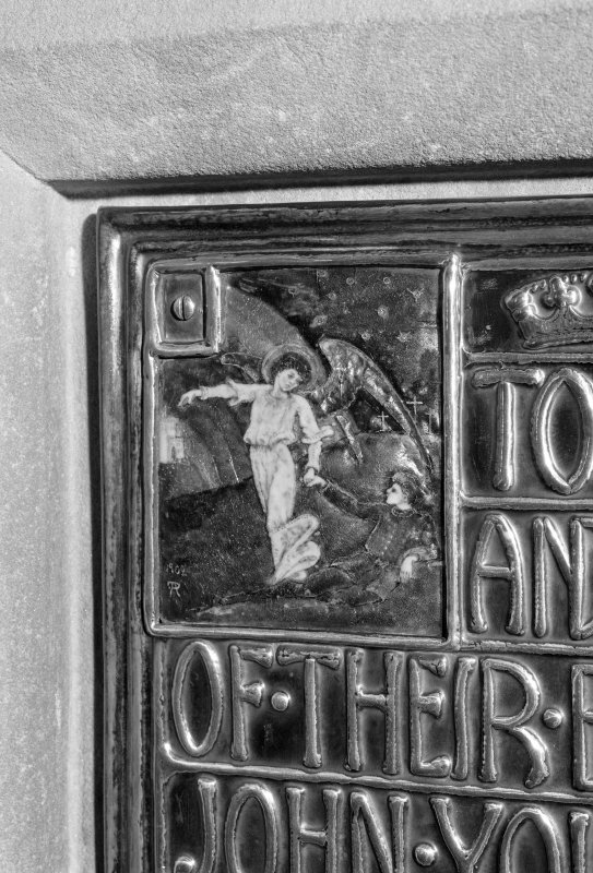 Interior. Detail of enamel decoration on memorial plaque to Edward John Younger.