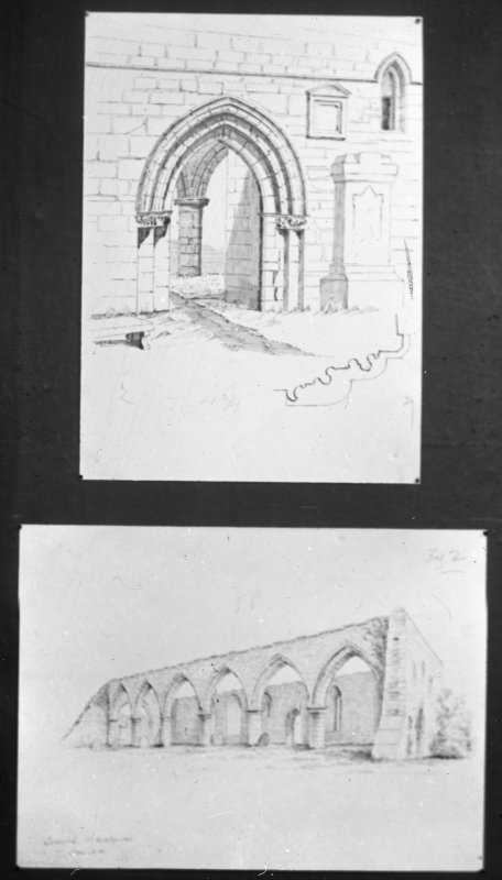 Drawn detail of doorway and view from South East.