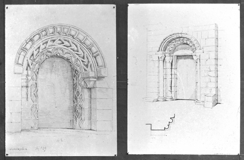 Detail drawings of doorways and section of pillar.