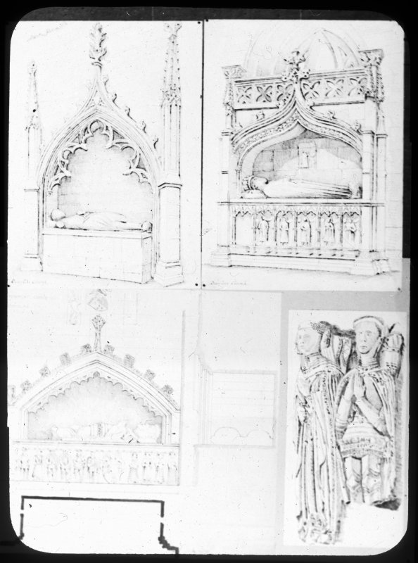 Detail drawings including the tombs of Sir James Douglas and Archibald 5th Earl of Douglas.