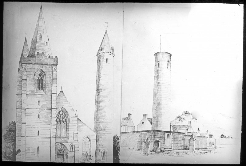 Sketch views of Brechin Cathedral and Anernethy round towers.