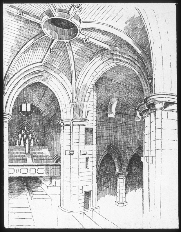 Perth, St John's Place, St John's Church. Drawing of arches and balcony.