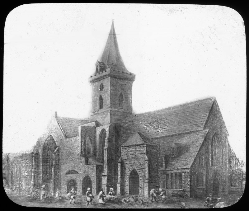 Perth, St John's Place, St John's Church. Drawing of general view of church from North-East.