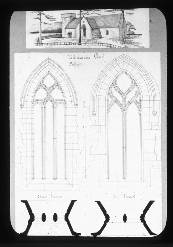 Sketched general view and detail of trancept windows.