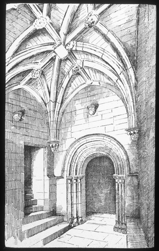 Perth, St John's Place, St John's Church. Photographic copy of drawing showing interior view of doorway.
