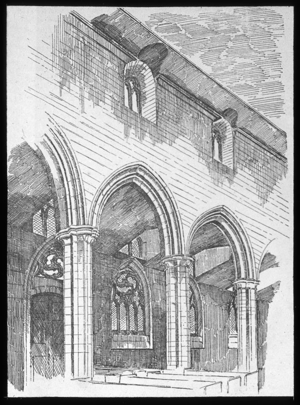 Perth, St John's Place, St John's Church. Photographic copy of drawing showing interior view of arcade.