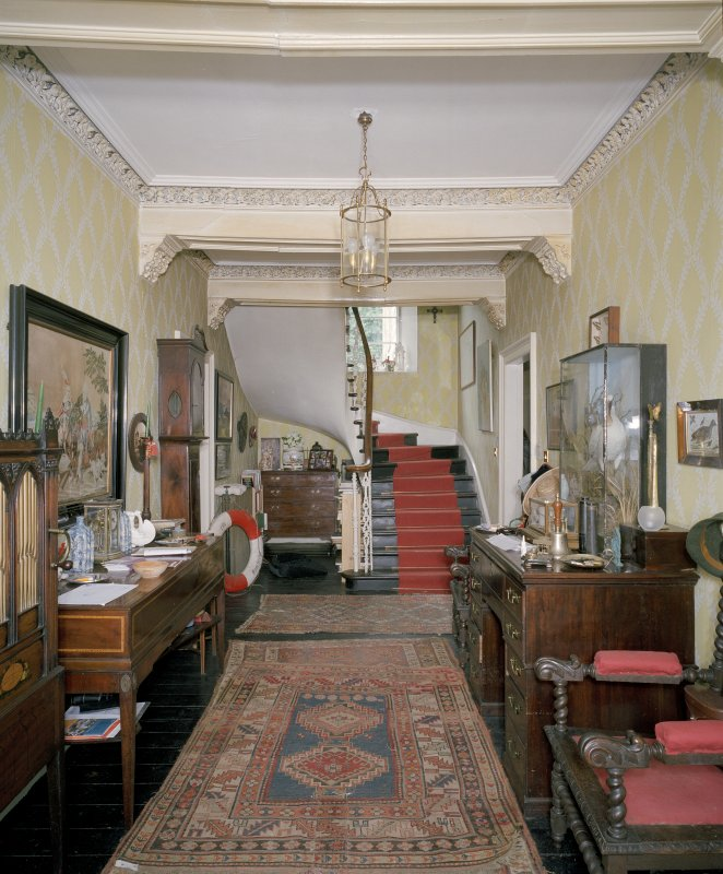 Interior view of entrance hall from S, Canna House.
