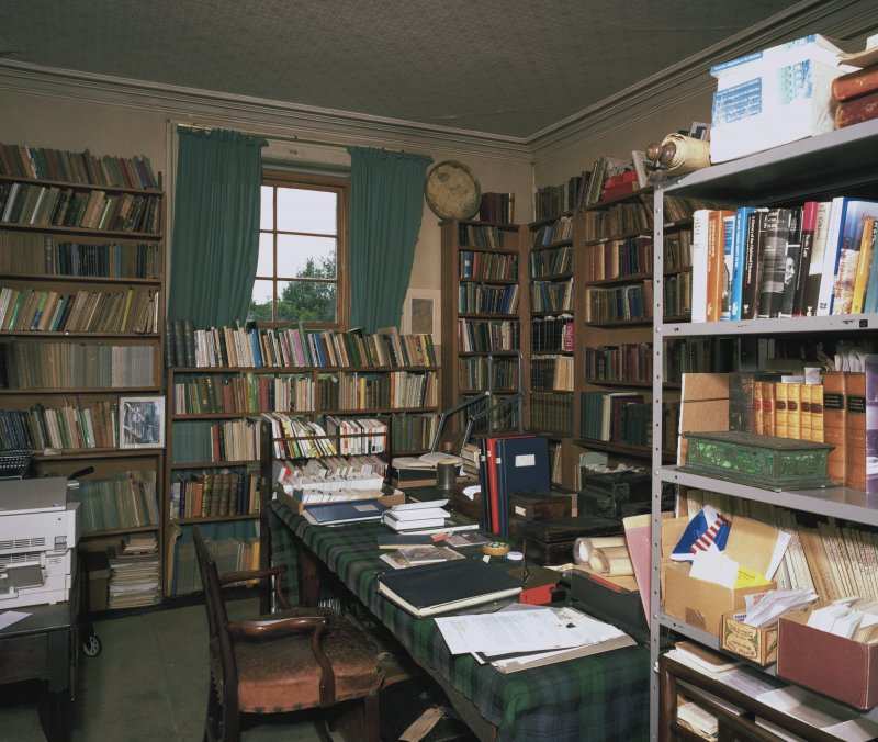 Interior. View of Ground floor library  from E