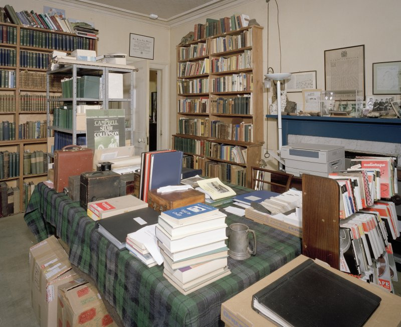 Interior. View of Ground floor library  from  W