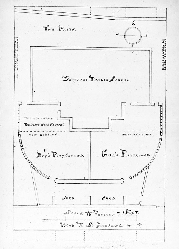 Plan of school with location of cists by W Reid.