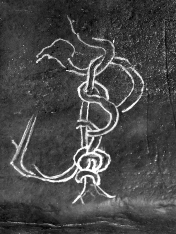 Detail of serpent knot carving.