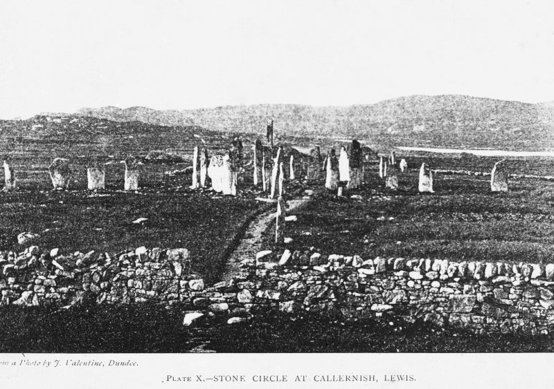 View of stone circle from South. Ins. 'Plate X. Stone Circle at Callernish, Lewis. From a photo by J. Valentine, Dundee.'