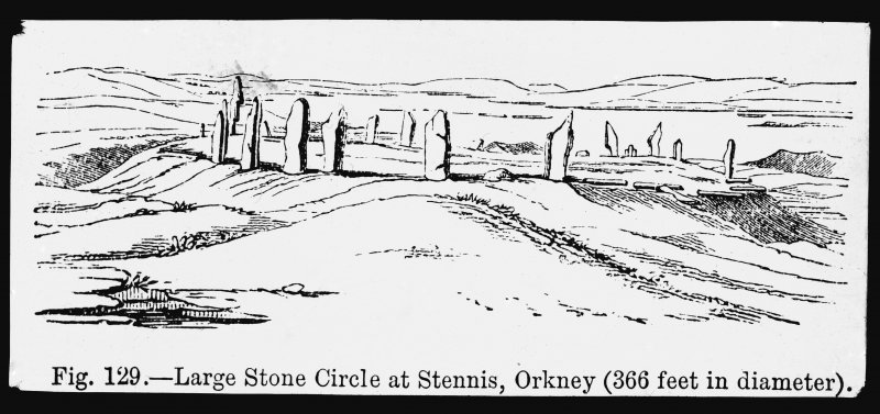 Photographic copy of drawing ins. 'Fig. 129.- Large Stone Circle at Stennis, Orkney (366 feet in diameter)'