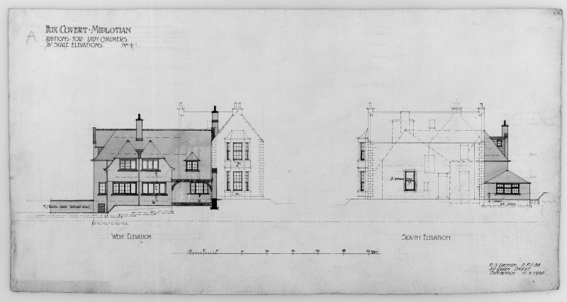 Photographic copy of drawing showing W. and S. Elevation.