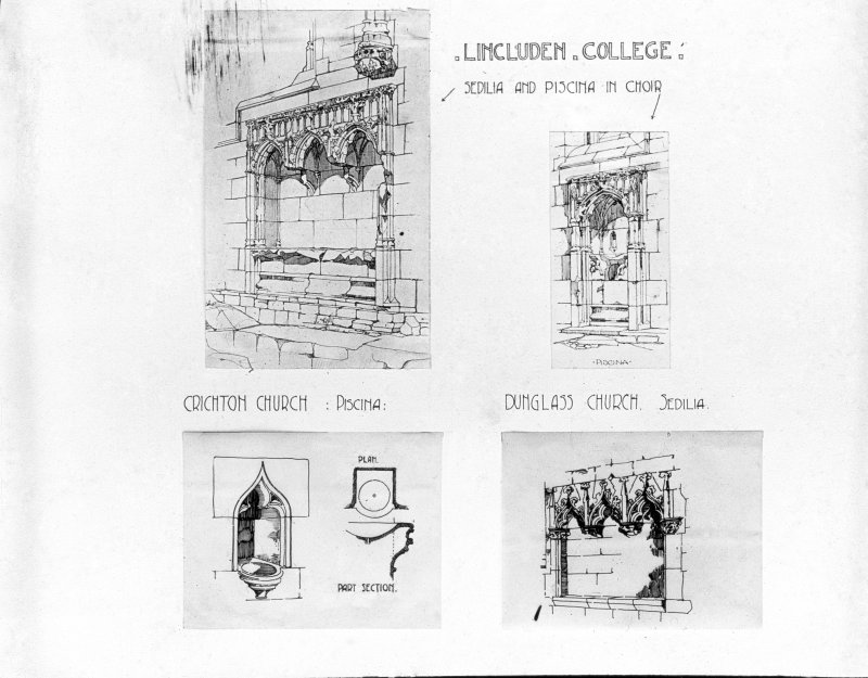 Photographic copy of comparative sketches of Sedilia and Piscina in Choir between Lincluden College, Chrichton Church and Dunglass Chuch.