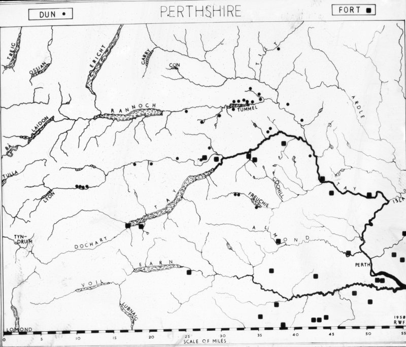 Photographic copy of map titled 'Duns & Forts in Perthshire'