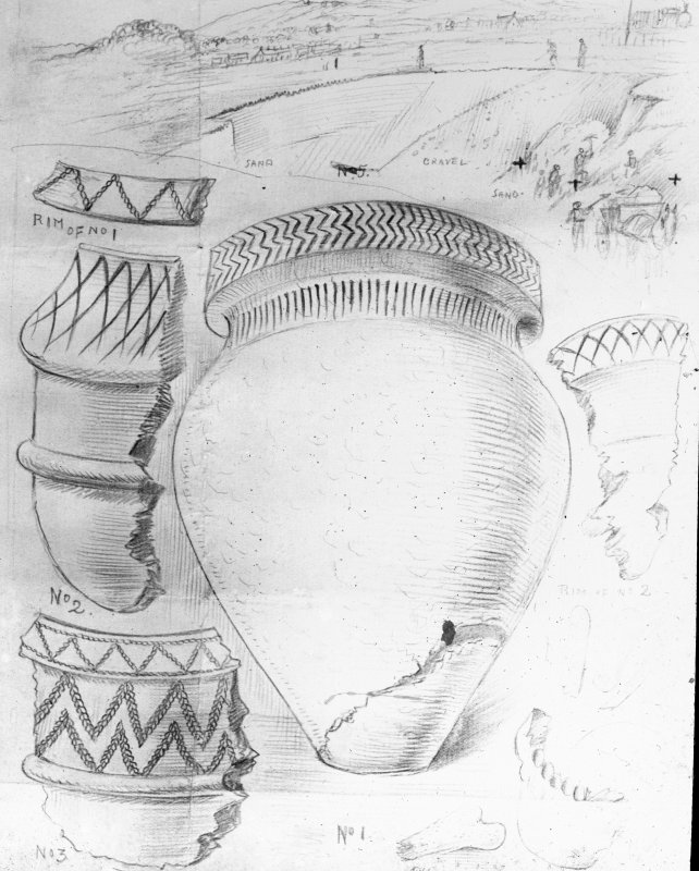 Photographic copy of drawing of urn burials. Newlands. Titled: '4 Inverted urns. Bones, No cists'.