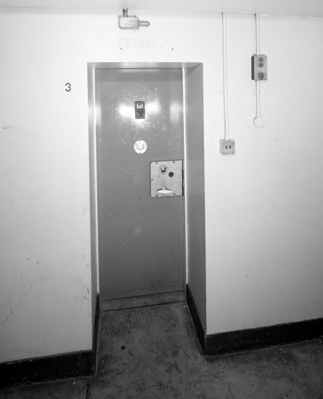 Interior. C Hall. Basement. Typical punishment cell door. Detail