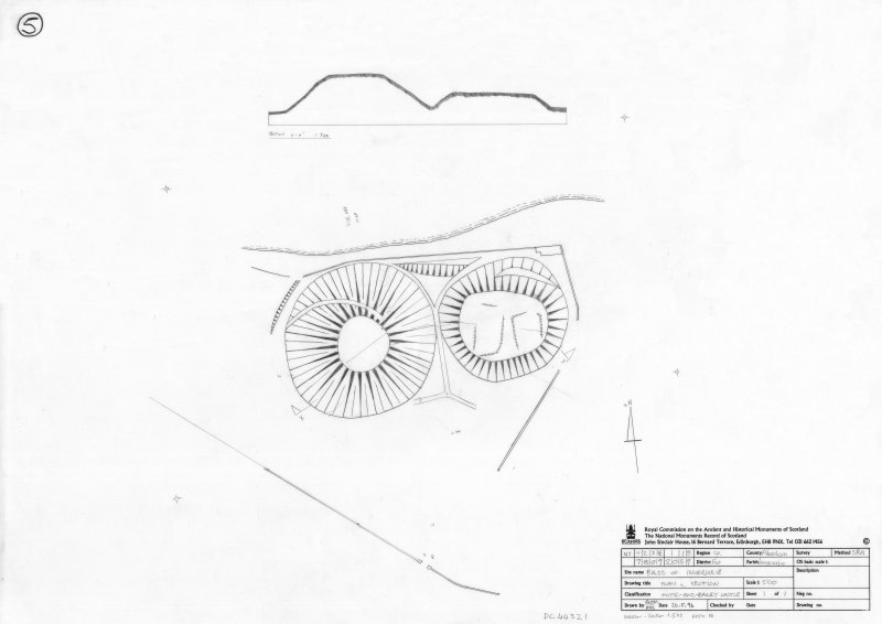 400dpi scan of DC44321 RCAHMS plan of Bass of Inverurie Motte and Bailey castle