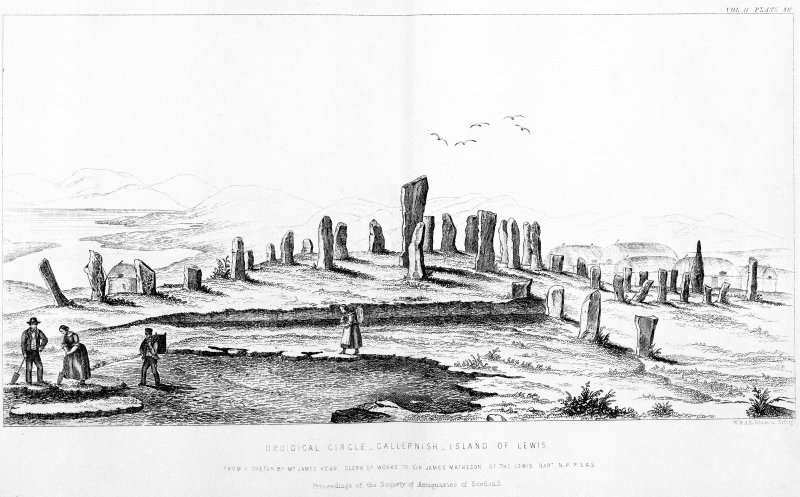 'Druidical circle, Callernish, Island of Lewis'. PSAS vol.2, plate XII.