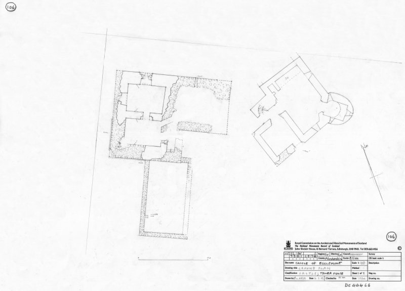 400dpi scan of DC44465 RCAHMS plan of tower house
