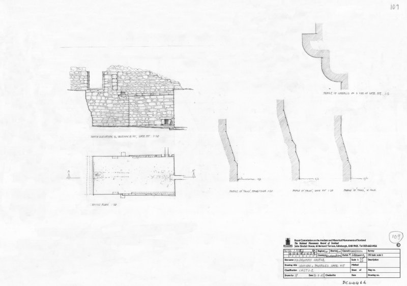 400dpi scan of DC44466 RCAHMS plan, elevation, sections andprofiles