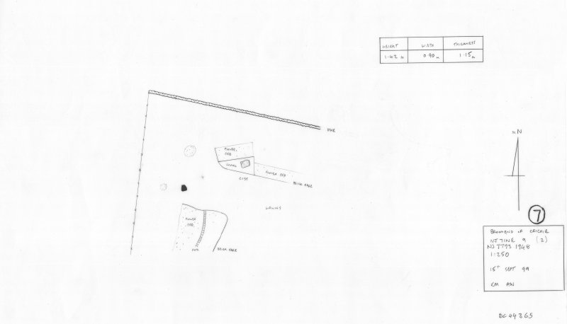 400 dpi scan of DC44365 RCAHMS plan of standing stone