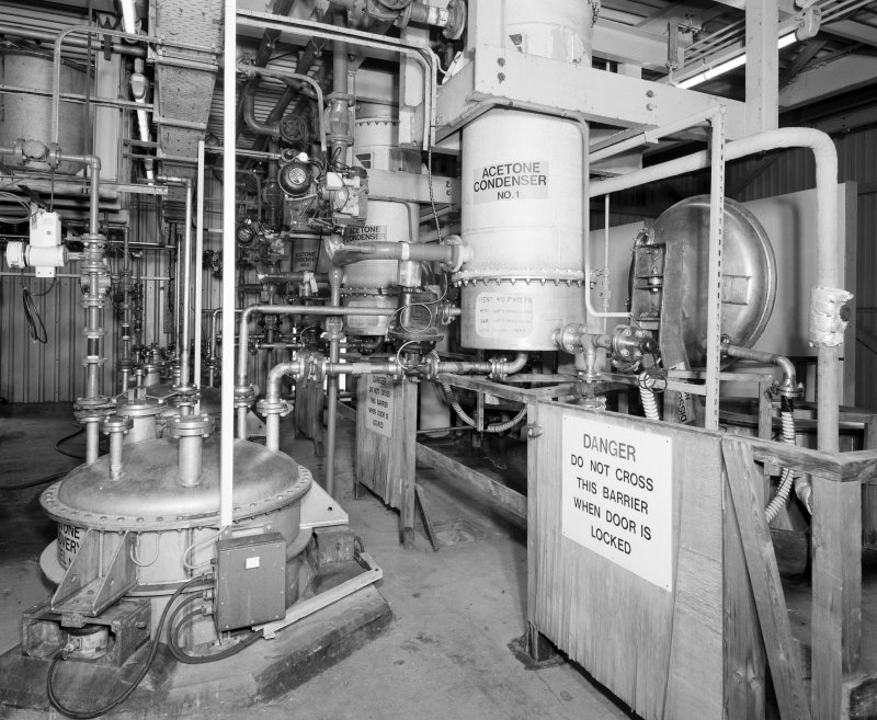 View of Acetone Recovery Vessel (left), Acetone Condenser (centre) and Dissolver (right), all on top levels of plant, Pentaerythrite Tetranite Plant, ICI Works, Ardeer.