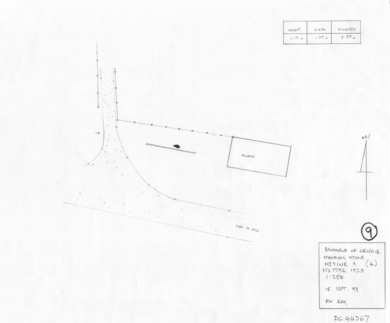 400 dpi scan of DC44367 RCAHMS plan of standing stone
