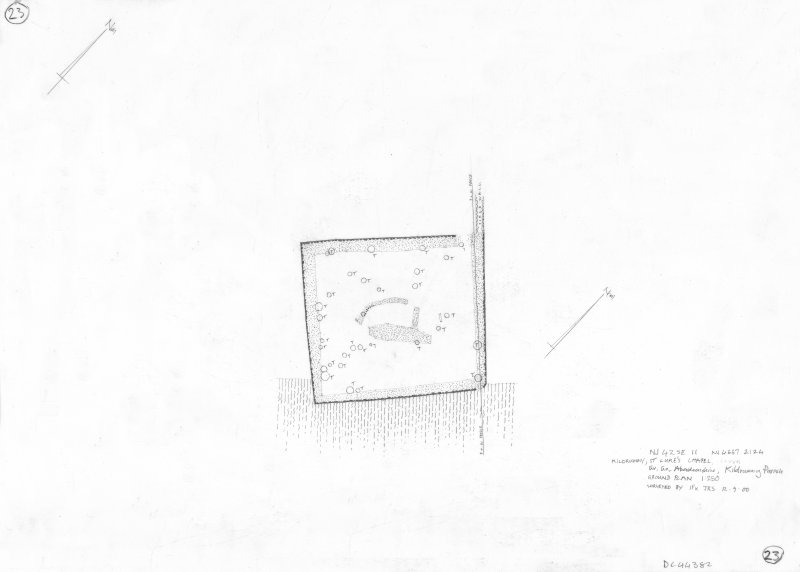 400 dpi scan of DC44382 RCAHMS plan of chapel and enclosure