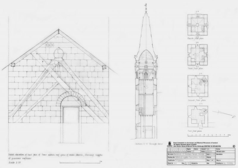 St Drostan's Parish Church:  Detail elevation of East face of Tower within the roof space of the main church showing raggles of previous rooflines at scale1:20. Section X-X1 through the Tower at scale 1:100 Tower floor plans showing first, second, third and fourth plans at scale 1:100