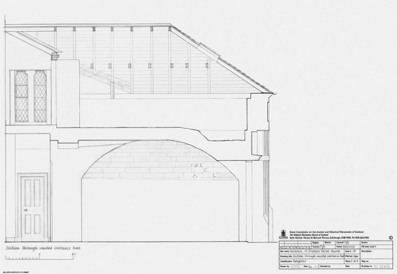 St Drostan's Parish Church: Section through vaulted entrance hall at scale 1:20