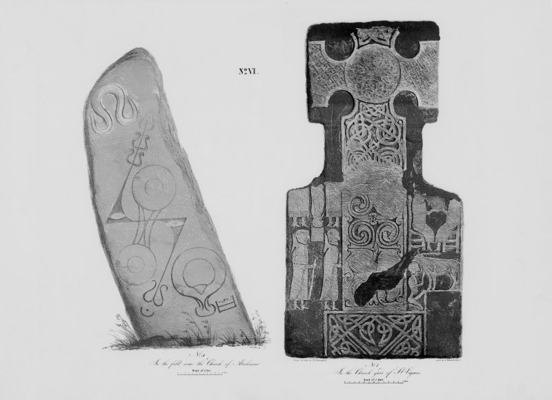 Face of cross-slab (St Vigeans no.7), and face of Pictish symbol stone (Aberlemno no.1).