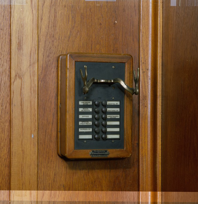 Interior. 1st floor. Gymnasium. Original telephone. Detail