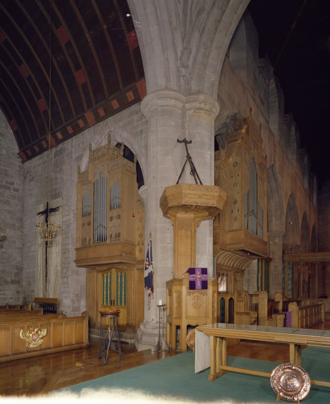 Interior. Pulpit and Organ. View from SW