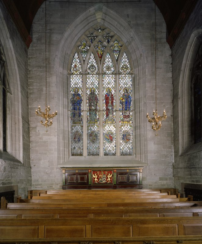 Interior. S Transept. Stained glass window and Gallery front.
