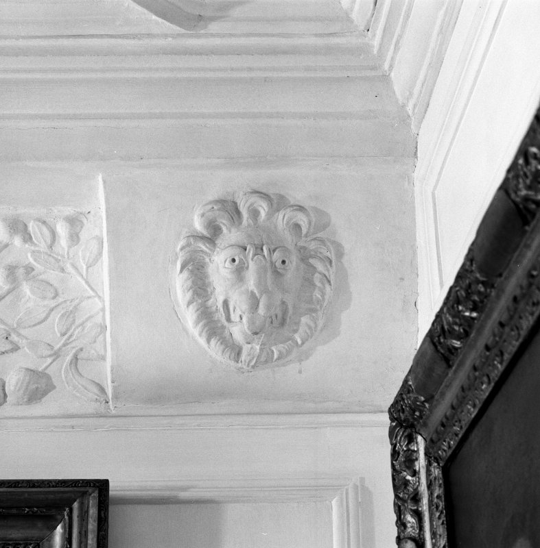 Interior. 2nd. floor, Jameson bedroom, detail of plaster corbel