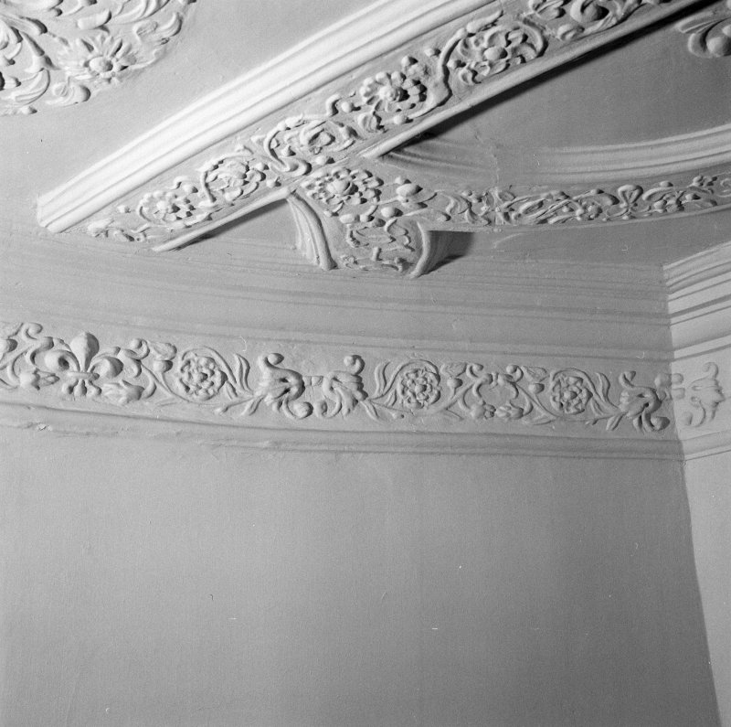 Interior. 4th. floor, Blue room, south west turret, detail of frieze