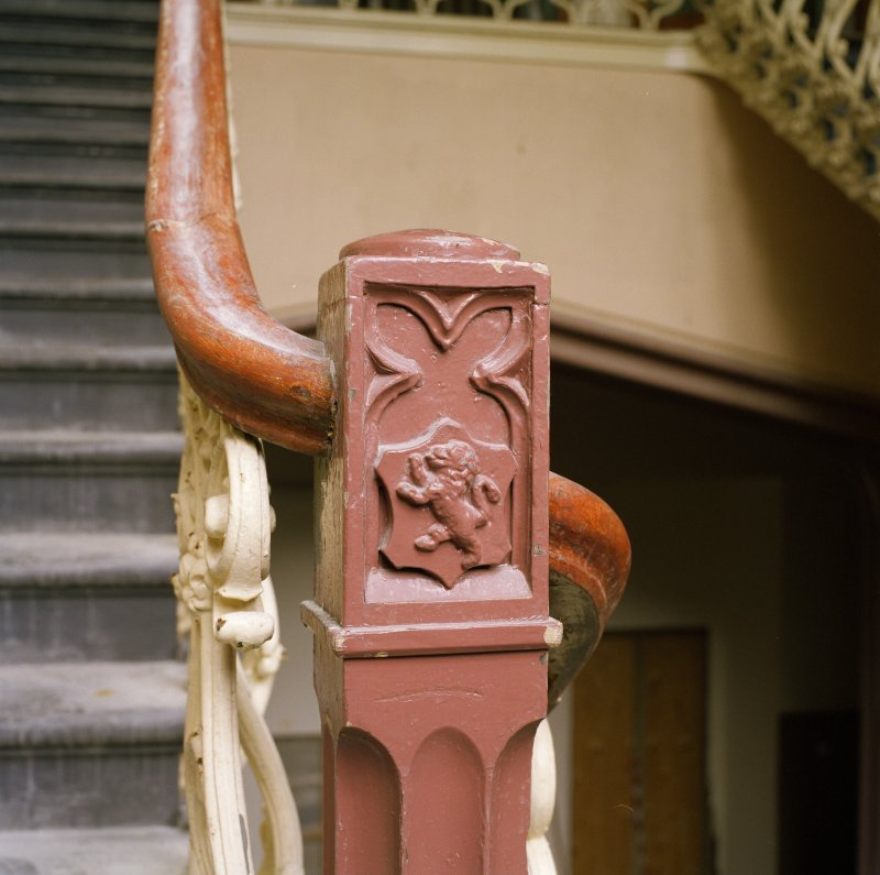 Interior. Main staircase, detail of carved lion on newel post