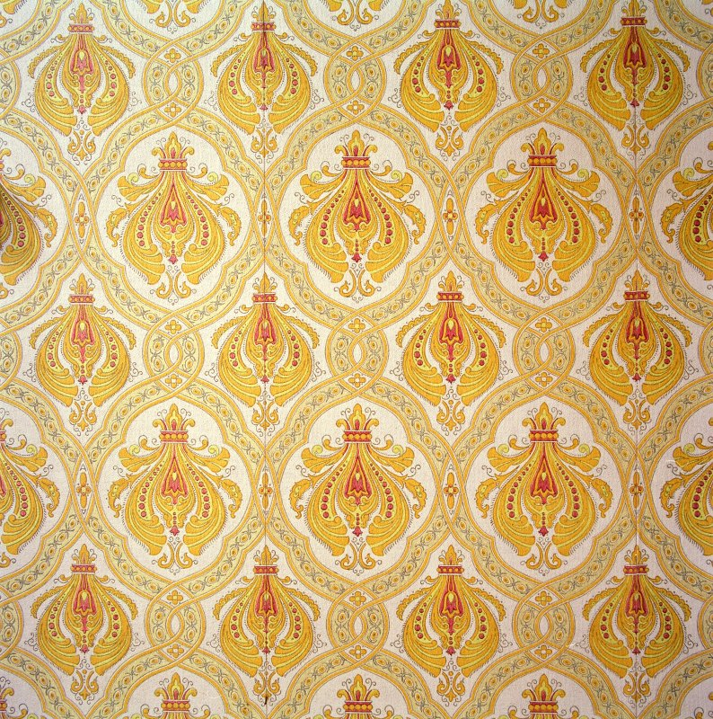 Interior. 1st. floor, W Princes room, detail of wallpaper