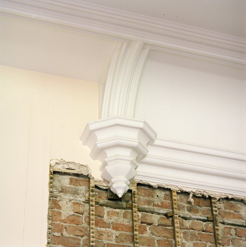 Interior. Ground floor, library, detail of plaster corbel