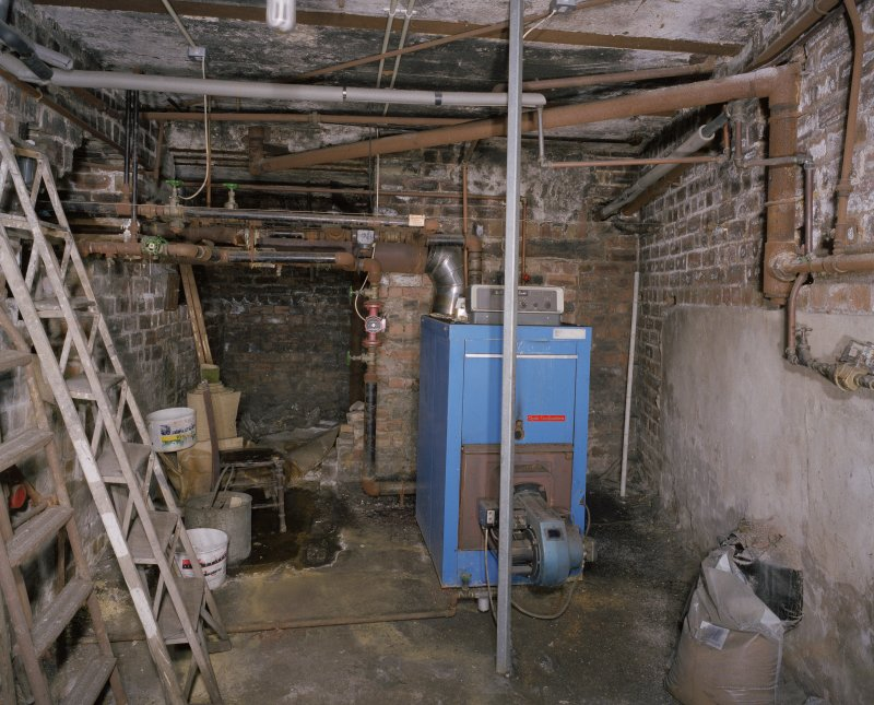 Interior. View of basement boiler room
